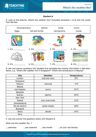 Weather Esl Activities Worksheets Games
