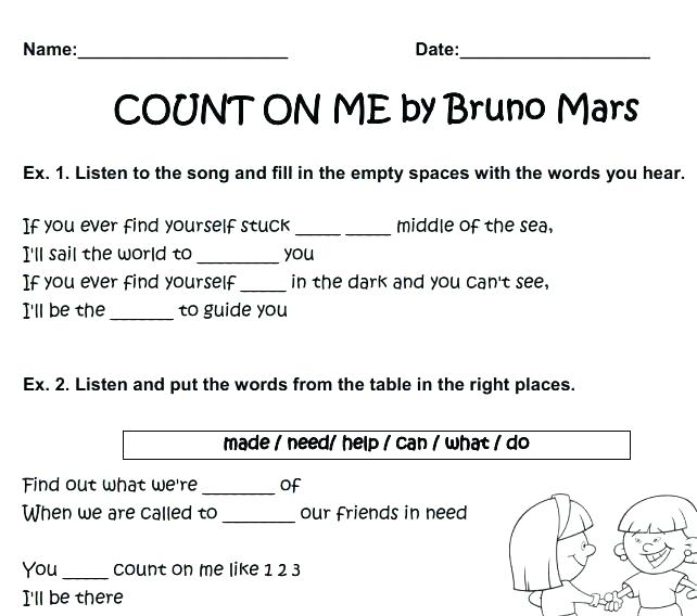 Worksheets 123 Free Song Worksheet Count On Me By Mars Writing For