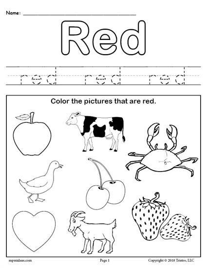 Free Color Red Worksheet