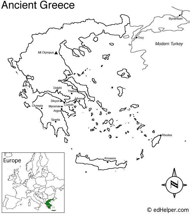 Ancient Greece Map Worksheet Printable  Drawn Map Ancient Greece