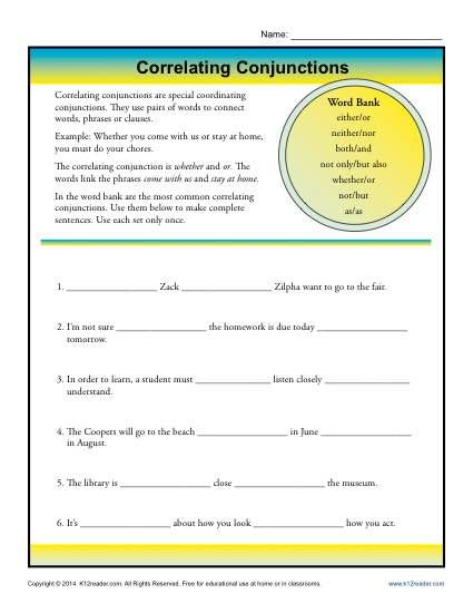 Correlative Conjunctions Worksheet
