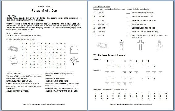 Jesus, God's Son  Free Bible Worksheet About The Trinity