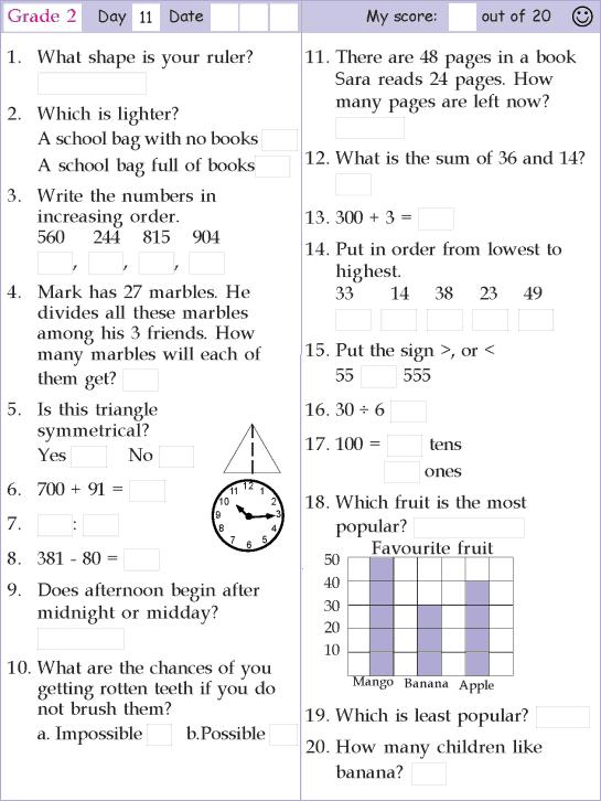 Mental Math Grade 2 Day 11