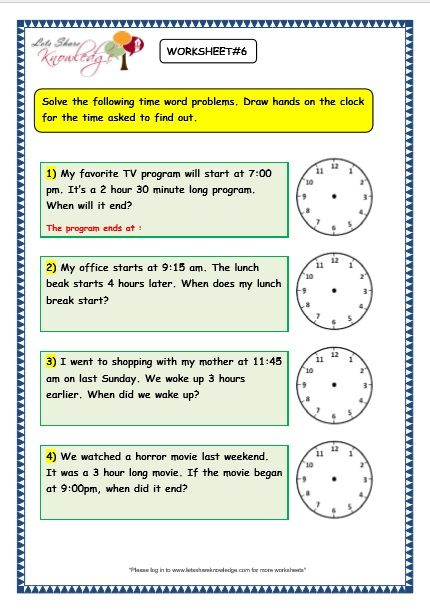 Grade 3 Maths Worksheets On Time Problems With Answer Key Print