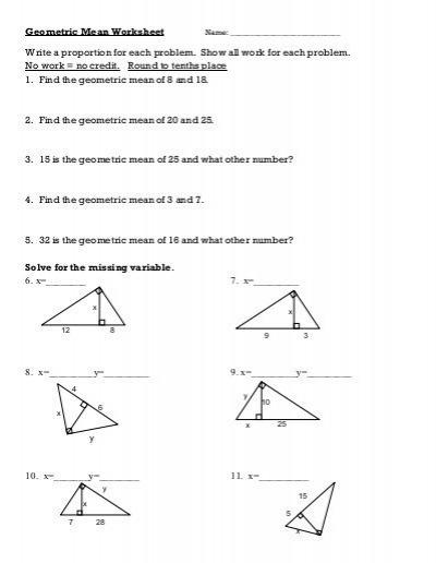 Geometric Mean Worksheet Pdf