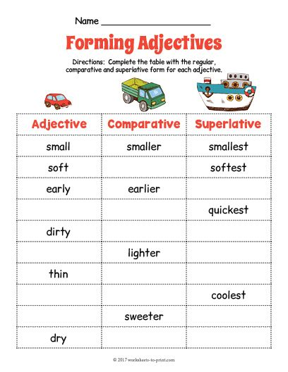 Free Printable Transportation Adjective Forms Worksheet