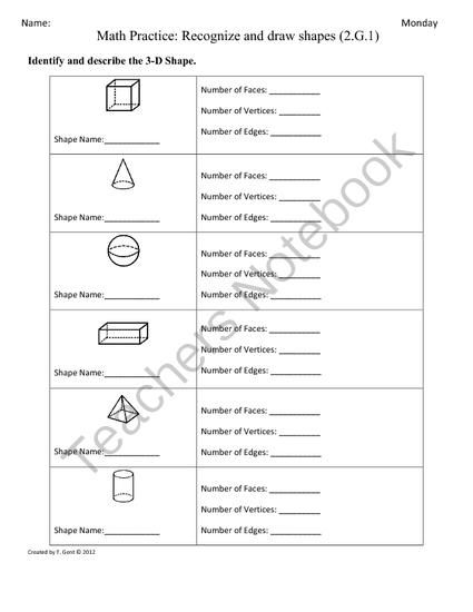 2 G 1) 3d Shapes [part 2] 2nd Grade Common Core Math Worksheets