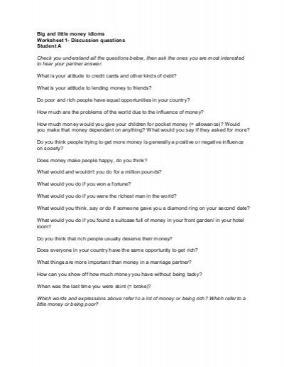 Big And Little Money Idioms Worksheet 1