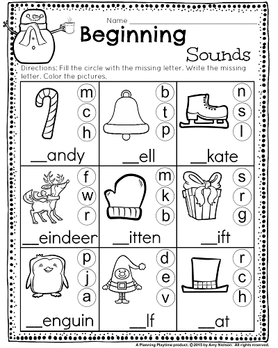 Kindergarten Math And Literacy Worksheets For December