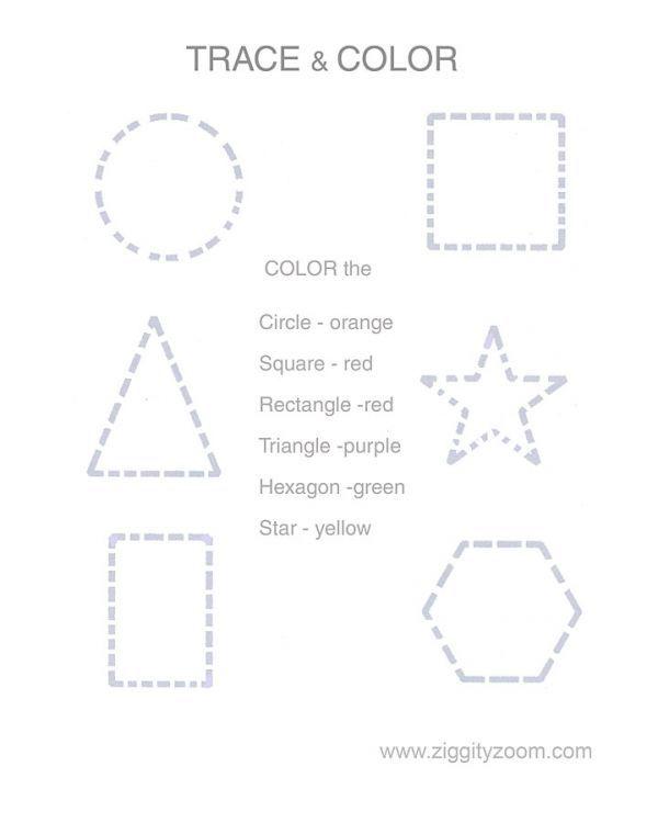 Trace & Color Shapes Worksheet