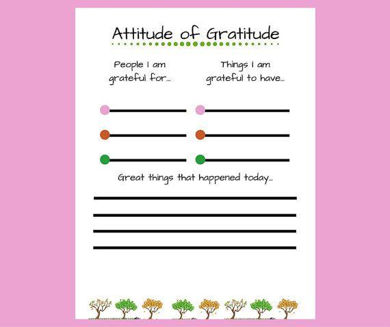 Digital Download  Attitude Of Gratitude This Printable Worksheet