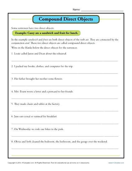 4th Grade Sentences Worksheets Compound Direct Object Worksheet