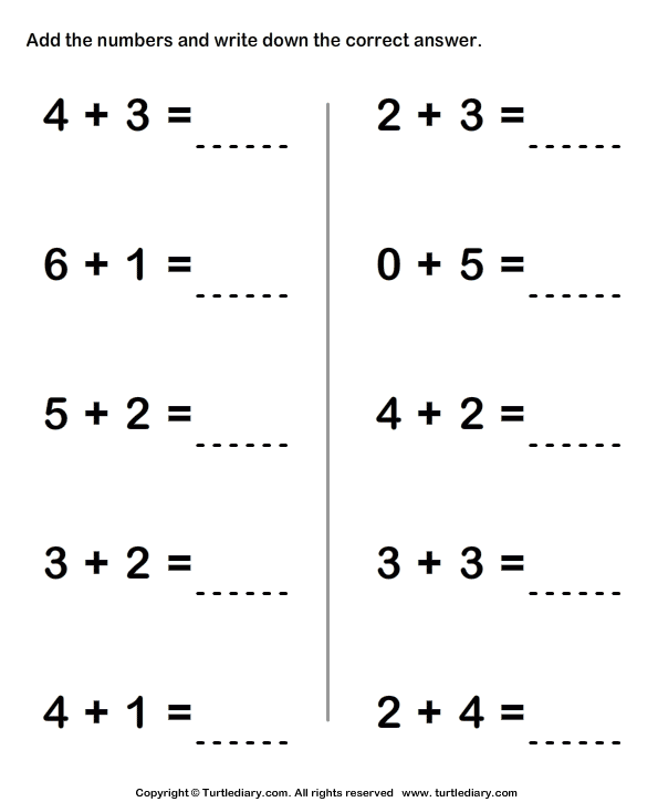 One Digit Addition Worksheet1