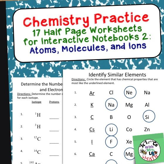 Chemistry Worksheets 2 For Interactive Notebooks  Atoms And
