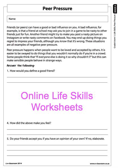 Grade 6 Online Life Skills Worksheet Peer Pressure  For More