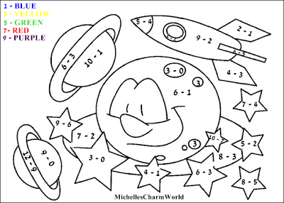 Fun With Learning! Subtraction Coloring Sheet (michellescharmworld