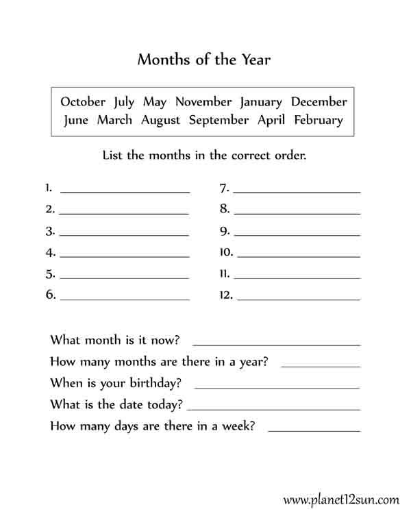 Months Of The Year Worksheet, 2nd, 3rd, 4th Grade