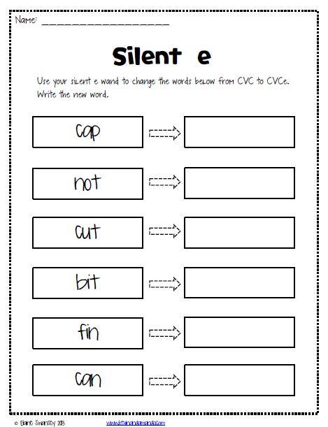 Silent E Worksheets {free} …