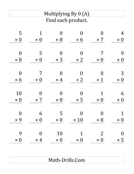 Multiplying (1 To 10) By 0 (36 Questions)