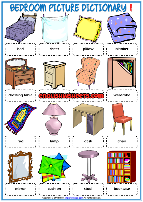 Bedroom Esl Printable Picture Dictionary For Kids