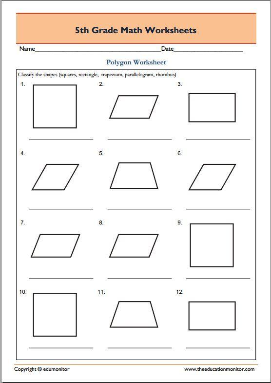 5th Grade Geometry Math Worksheets