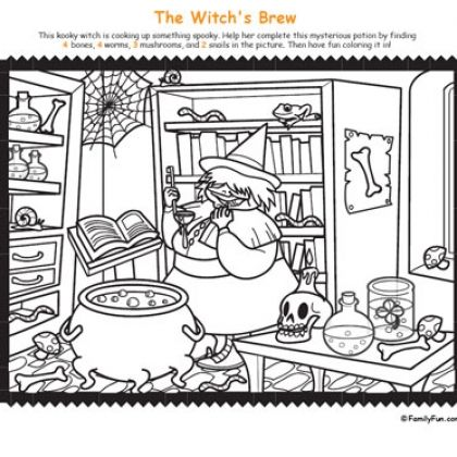 Hidden Picture & Coloring Page  Witch's Brew