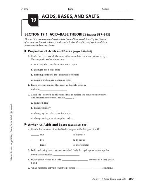 Acid And Base Worksheet Pdf