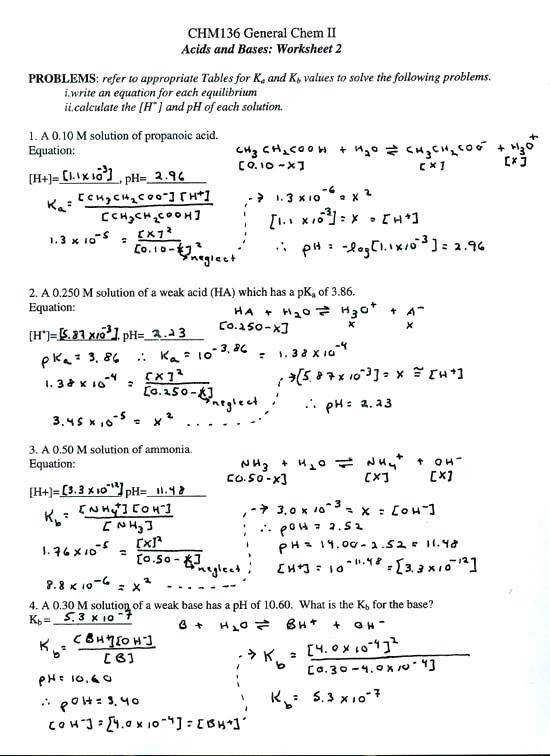 Acids And Bases Worksheet Answers Acids And Bases Worksheet Middle
