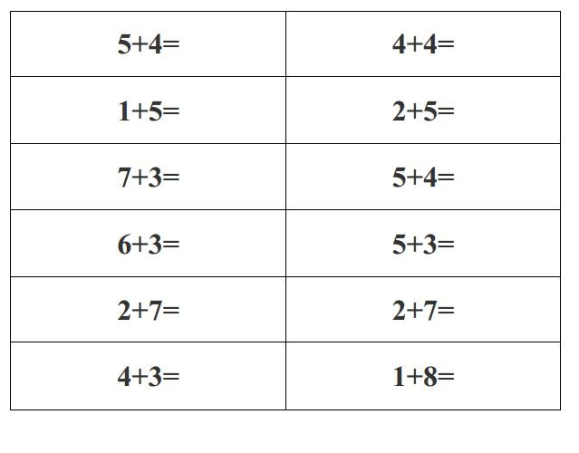 Very Easy Exercises Free Printable Math To Grade 1