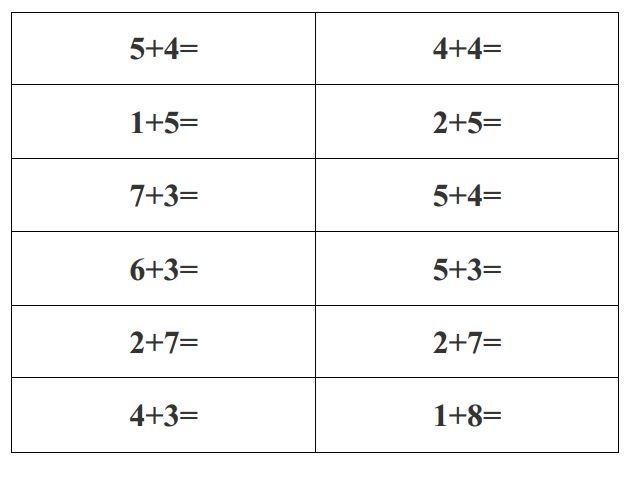 Very Easy Exercises Free Printable Math To Grade 1