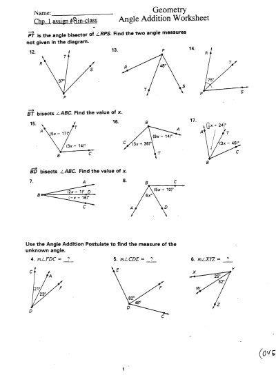 Angle Addition Postulate Worksheets
