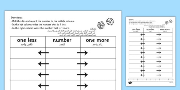 One More One Less Dice Activity Worksheet Arabic Translation