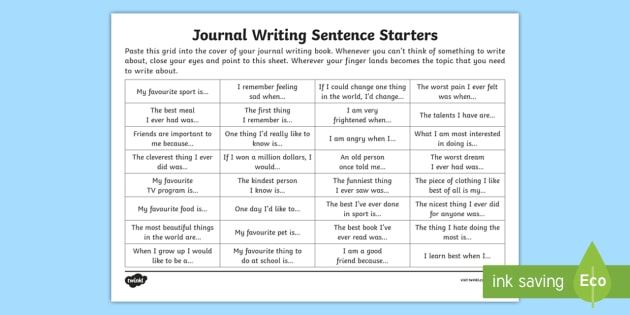 Journal Writing Sentence Starters Worksheet   Worksheet
