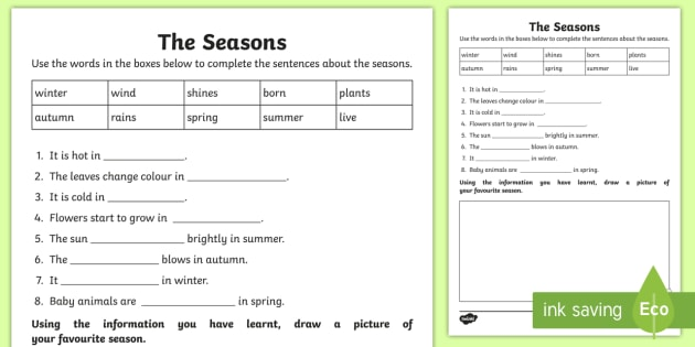 The Seasons Cloze Worksheet   Worksheet