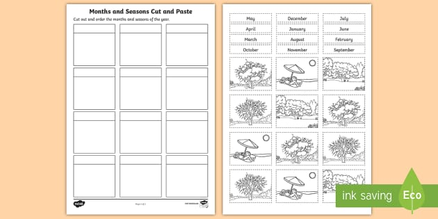 Months And Seasons Cut And Paste Worksheet   Worksheet