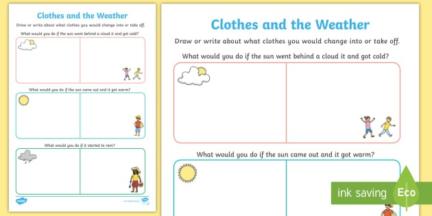 Clothes And The Weather Worksheet   Worksheet