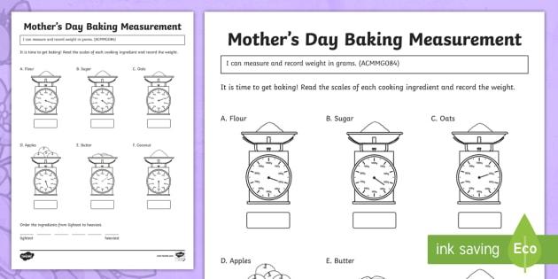 Mother 's Day Baking Measurement Worksheet   Worksheet