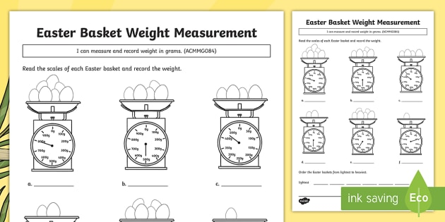 Easter Basket Weight Measuring Worksheet   Worksheet