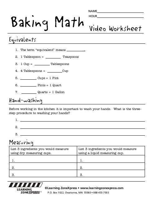 Baking Math Worksheets