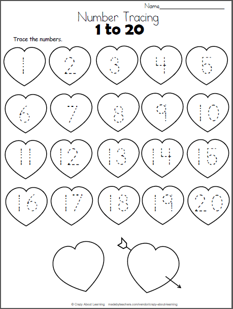Valentine Hearts Math Worksheet