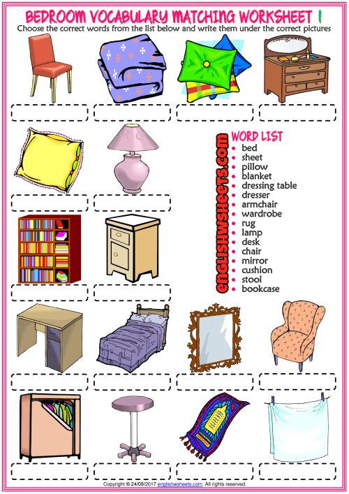 Bedroom Vocabulary Matching Exercise Worksheets For Kids