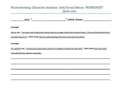 Brainstorming  Character Analysis