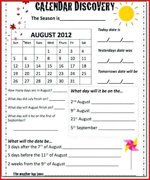 Calendar Worksheets For Grade 1