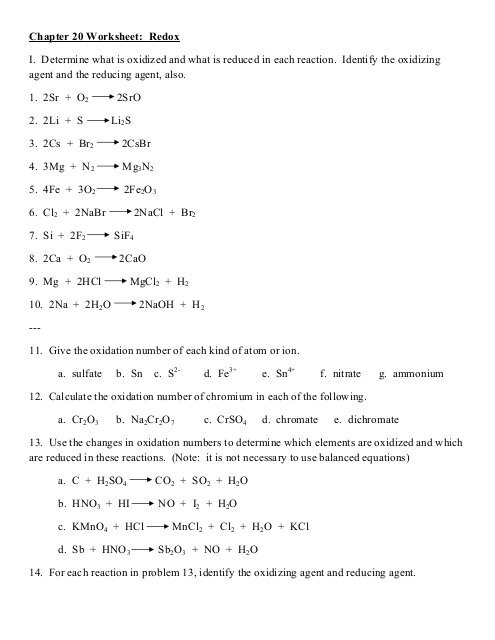 Chapter 20 Worksheet Redox