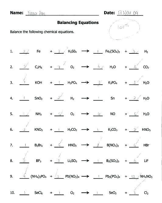 Chemfiesta Balancing Equations Worksheet Answers – Autohersteller Info