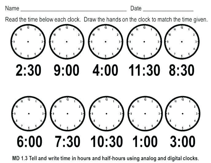 Clock Activities For Kindergarten Free Printable Time Worksheets