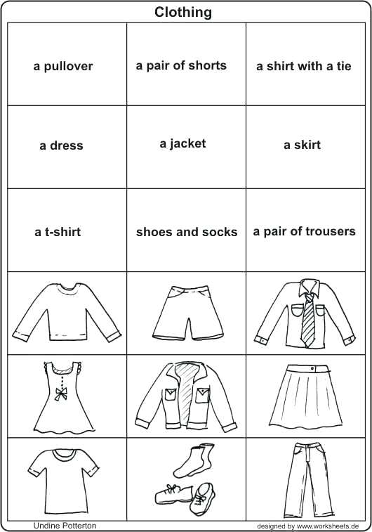 Clothes Worksheets Clothes Show And Text Clothes Worksheets For