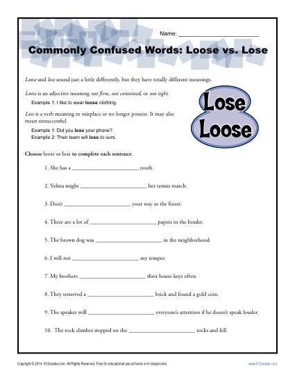 Loose Vs  Lose Worksheet