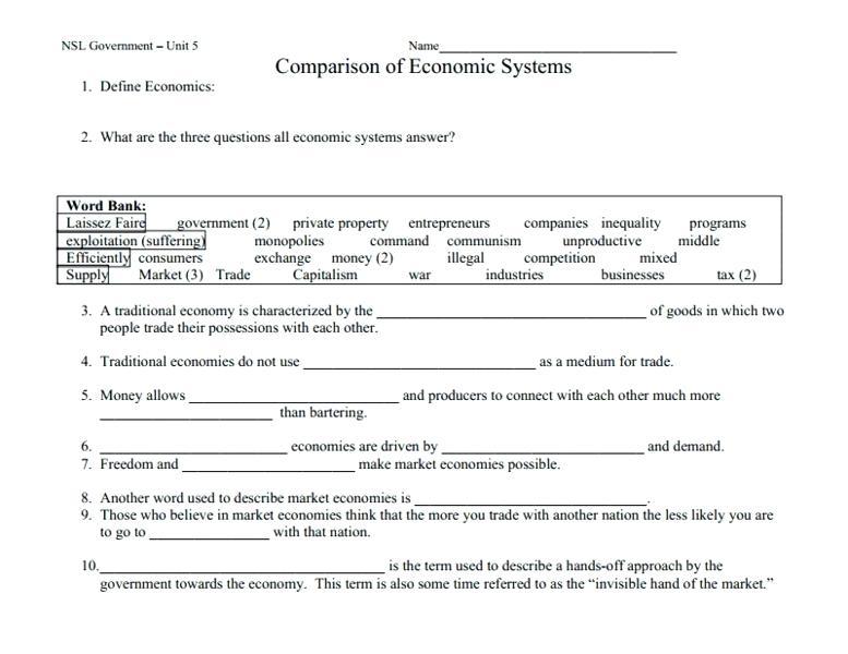 Comparing Economic Systems Worksheet Comparison Of Economic