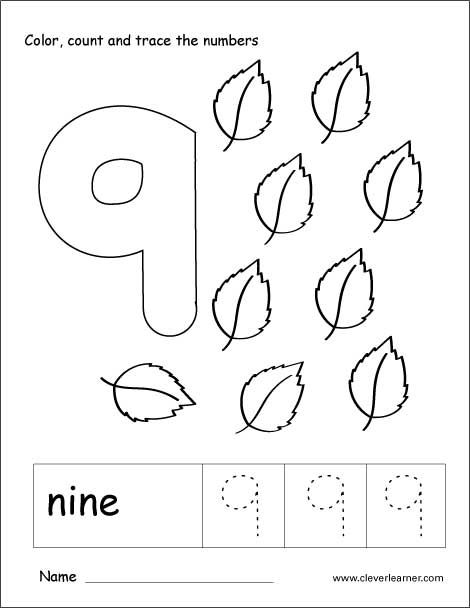 Number 9 Tracing And Colouring Worksheet For Kindergarten
